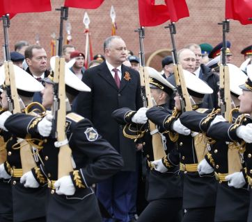 Moldova's Igor Dodon was the only head of foreign state who attended the 2017 Victory Day parade in Moscow (Image: novayagazeta.ru)
