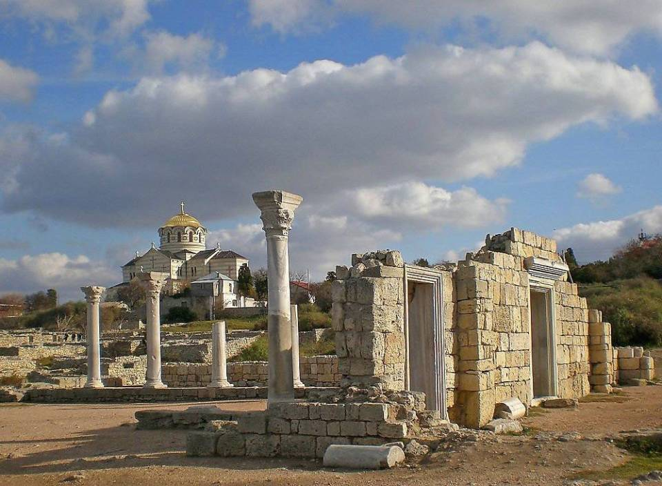 Foreground: The 6th century Roman basilica built on the site of an earlier temple in the ancient city of Tauric Chersonesos (Sevastopol, Ukraine). Background: St. Volodymyr's Cathedral built on a reported site of the 988 A.D. baptism of Volodymyr The Great, the king of Kyivan Rus, later known as St. Volodymyr. (Image: qha.com.ua)