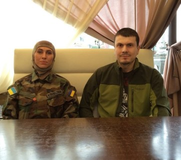 Amina Okuyeva and Adam Osmayev of the Dzhokhar Dudayev battalion. Kyiv, 2015. Photograph: Shaun Walker for the Guardian