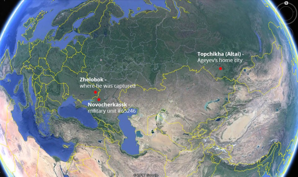 How Ageyev got to Ukraine. Image: Euromaidan Press