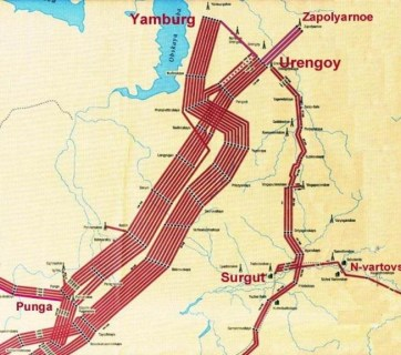 "A diagram showing where the 17 high-pressure pipelines carrying 89% of all natural gas produced in Russia pass through a single 500 by 500 meter area. Locals call the area ""the Cross."" (Image: voprosik.net)"