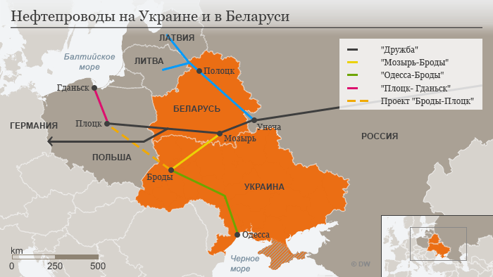 Oil pipelines in Belarus and Ukraine. Image: dw.com