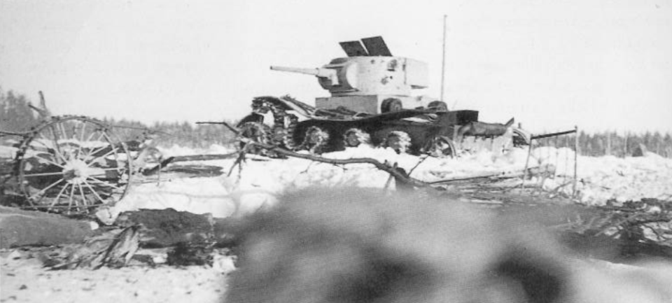 A defeated Soviet tank T-26 in Finland. The Winter War, 1940