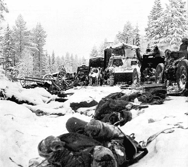 Abandoned equipment and corpses of the Soviet 44th Infantry Division destroyed by the Finns near Suomussalmi, Finland. The Winter War, January 1940