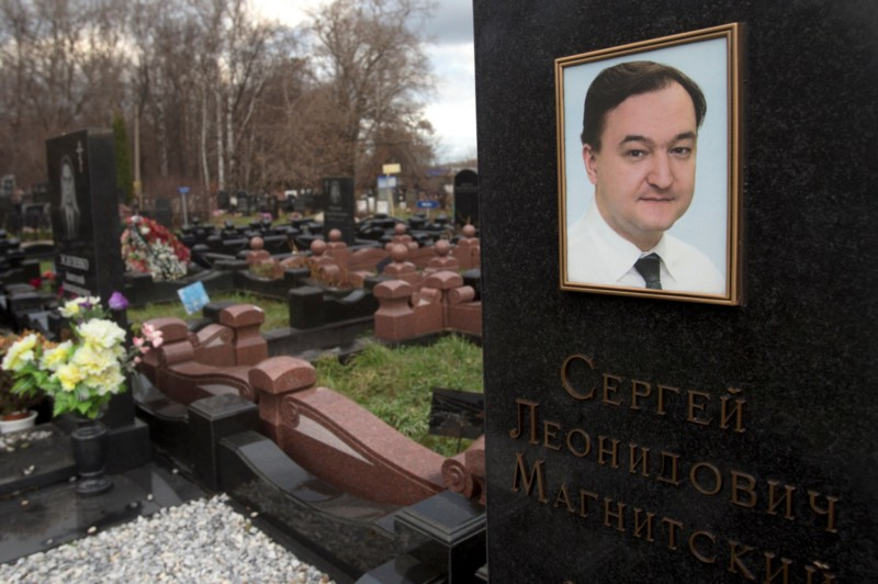 "Tombstone of Sergei Magnitsky, Russian lawyer who died in a Moscow prison in 2009 after accusing Russian government of massive corruption/tax fraud scheme. 2012 US law ""Magnitsky Act"" imposed asset freezes and visa ban sanctions on those responsible US held responsible for his death (photo: Misha Japaridze/AP, via NPR)"