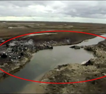 New river funnel that formed on 28 June 2017. (Image: Yamal Region via siberiantimes.com)