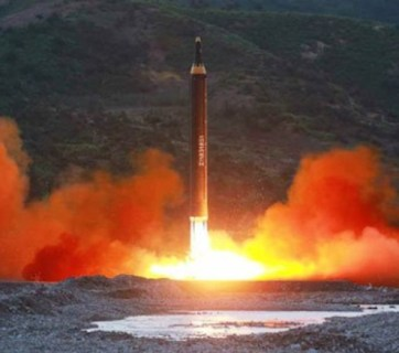 A state media image of North Korea's missile launch in May 2017.