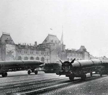 Early Soviet intercontinental ballistic missiles demonstrated on parade for first time. Red Square in Moscow, USSR. November 07, 1957
