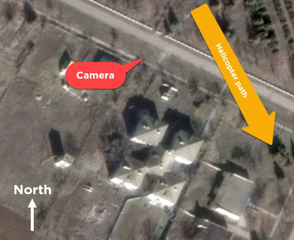 Satellite map from Google Earth showing the path of the helicopter and location of filming in Vishivetsky's Facebook video. Source: Google Earth. Image: DFRLab
