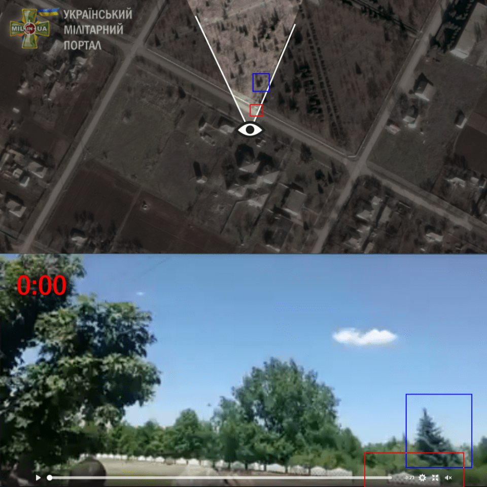 The exact location in Pavlivka, Kherson Oblast (on map) where the video was filmed. Geolocation: mil.in.ua