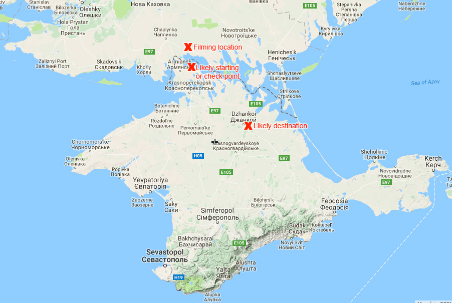 Locations of the likely starting (or check) point, filming location and destination point by K-52. Map: Euromaidan Press. Source: Google Terrain