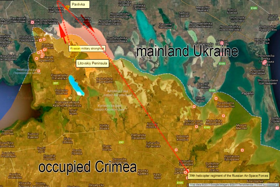 Likely route of the Russian K-52 captured on camera in Pavlivka, Kherson Oblast on its way back towards occupied Crimea. Source: Wikimapia.org, Google Maps. Map: Euromaidan Press.