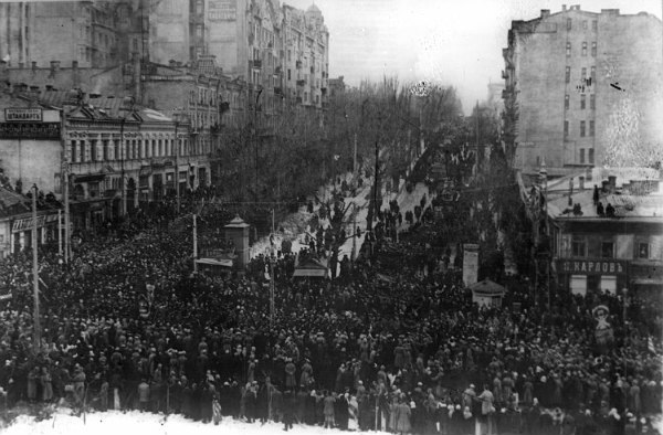Revolutionary manifestations near Khreschatyk street in Kyiv, Ukraine, March 1917. These were the days of the emergence of the Central Rada, the all-Ukrainian council that united the political, public, cultural and professional organizations of the to-be Ukrainian People's Republic