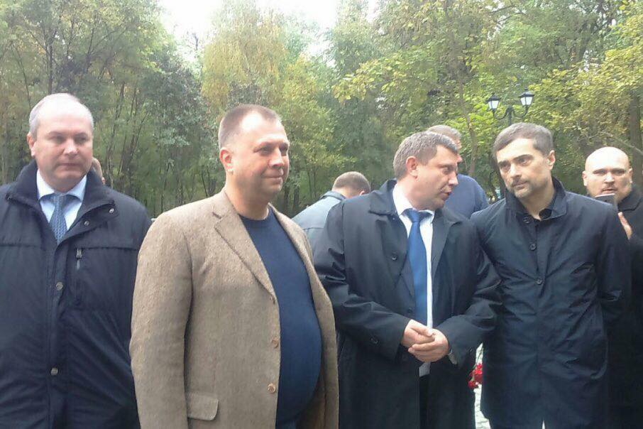 """First row right to left: Kremlin's aide Vladislav Surkov who controls fake Donbas states, DNR leader Aleksandr Zakharchenko, DNR ex-PM Aleksandr Borodai at the opening of the monument """"to the heroes of the Donbas."""" 16 October 2017, Rostov-on-Don, Russia. Photograph: Twitter"""