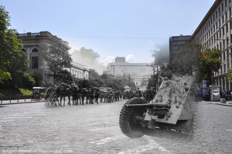 Kyiv 1941/2012. German gun on Stalin Square (now European Square). Collage: Sergey Larenkov (Livejournal)