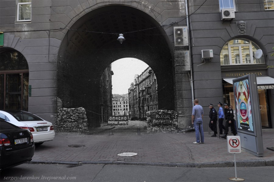 Kyiv 1944/2012. The Big Passage destroyed. Collage: Sergey Larenkov (Livejournal)
