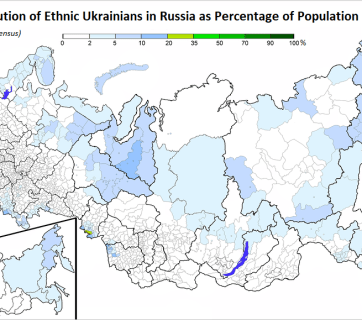 The regional distribution of self-identified ethnic Ukrainians in the Russian Federation, as percentage of population (Source: 2010 Russian Federation census)