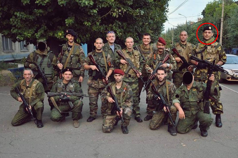 Radomir Pocuca (circled) in Donbas. Photo: russiadefence.net