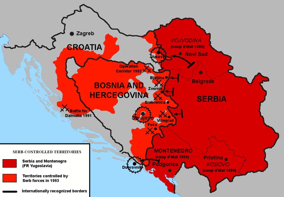 Territories controlled by the Republic of Srpska and Republic of Serbian Krajina in 1993. Photo: Wikimedia commons