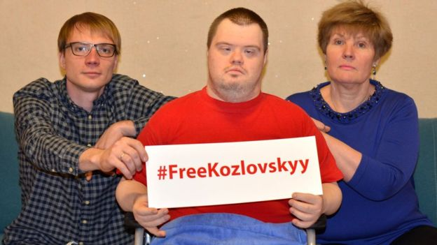 Mr. Kozlovskyi's son participating in the #FreeKozlovskyy flashmob in 2016