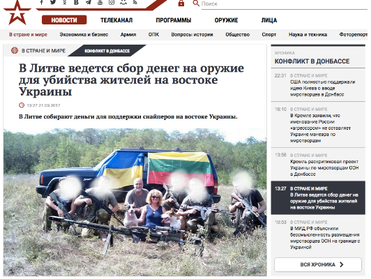 "An example of the efficiency of the volunteer movement. ""Krasnaya Zvezda,"" the Russian armed forces newspaper, scouring Blue/Yellow for ""providing guns for killing of civilians in Donbass"", giving an idea of the frustration about the volunteers in Kremlin. The picture in reality was done for the jeep in the background, provided from Lithuania, in cooperation with Ukrainian volunteers, to 53rd brigade."