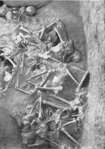 Mass grave of Kyivans in the area of the Church of the Tithes, the last refuge within the city of Volodymyr, the last Kyiv's keep fallen to the hordes of Batu Khan in December 1240. Photograph: myslenedrevo.com.ua