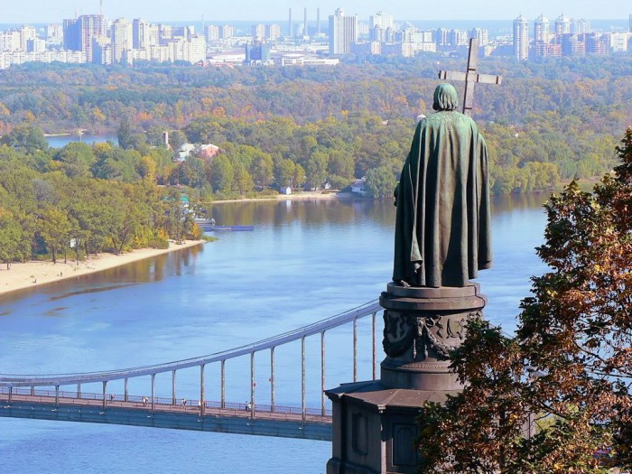 A monument to Knight Volodymyr, the baptizer of Kyivan Rus, stands on the hills of Kyiv