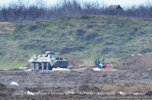 The three-color camouflaged BTR-82A nor far from the town of Armyansk posted on 18 March 2014.