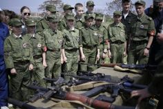 Russian military instructors train Crimean children to use combat weapons