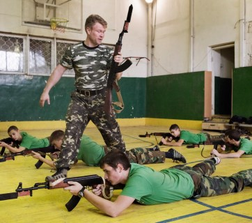 Crimean children during military training at a Cossack military school