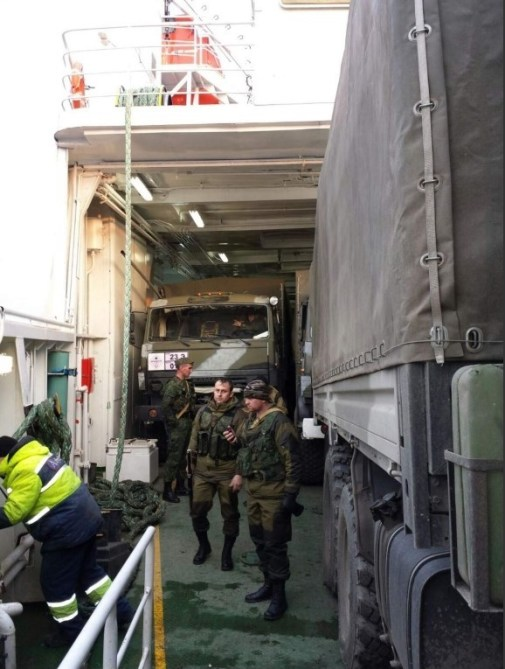 """A picture of military equipment loaded on the ferry """"Nikolai Akseyonenko"""" found in an online album by driver of the 1st detachment of the first squad of the 1st automobile platoon of the automobile company (for ammunition supply) Usman Gadaev."""