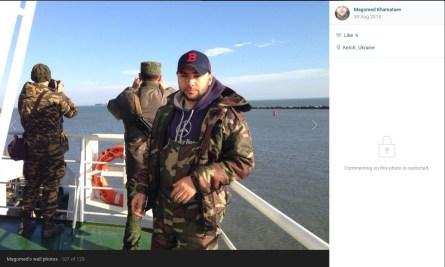 "Reconnaissance man, machine-gunner of the 2nd detachment of the 2nd special operations group of the 1st special operations company of the special operations battalion Magomed Khamataev aboard ""Nikolai Aksyonenko"" in port ""Krym."""