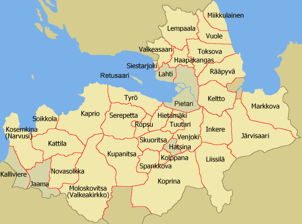 Ingermanland and its Lutheran parishes in the Russian Saint Petersburg Governorate, circa 1900 (Image: Valeriy10f via Wikimedia)