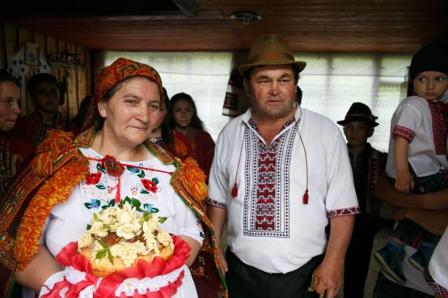 The bride's parents, Mariya and Mykola Moskaliuk