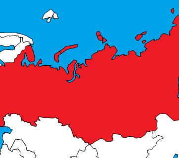Belarus (green), Ukraine (yellow) and Russia (red)
