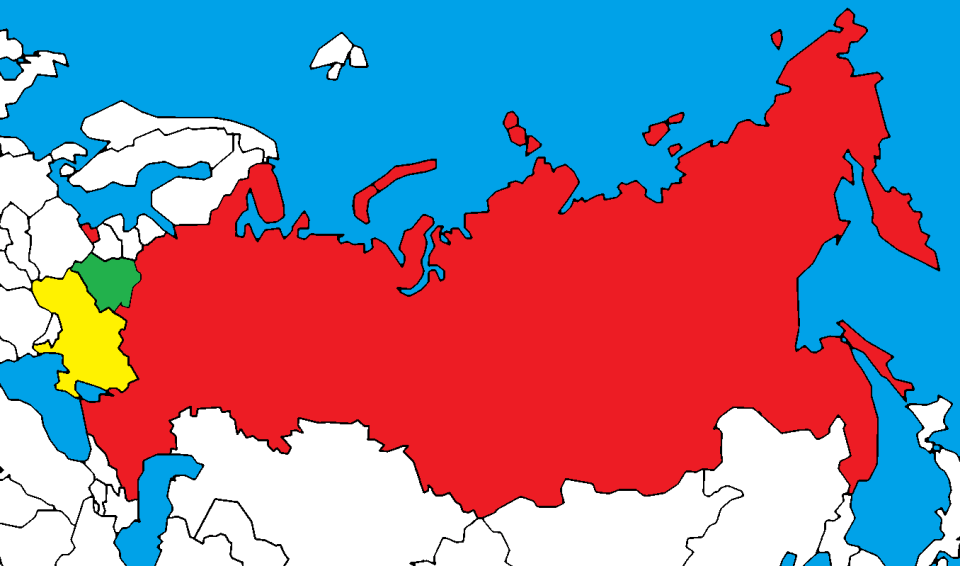 Belarus (green), Ukraine (yellow) and Russia (red)