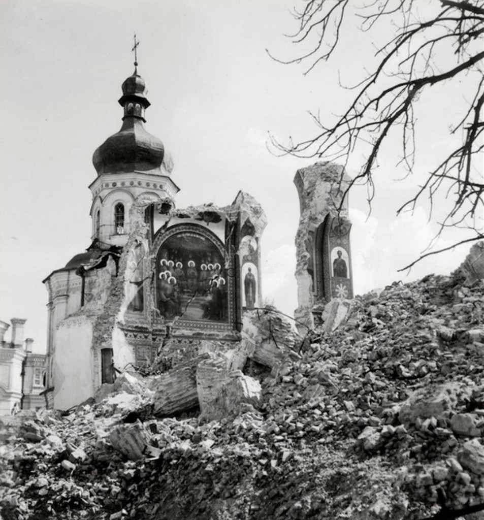 The Assumption Cathedral of the Kyiv-Pechersk Lavra destroyed in the Soviet terror campaign of remotely-controlled booby traps after the German occupation of the city in 1941 (Image: Herbert List)