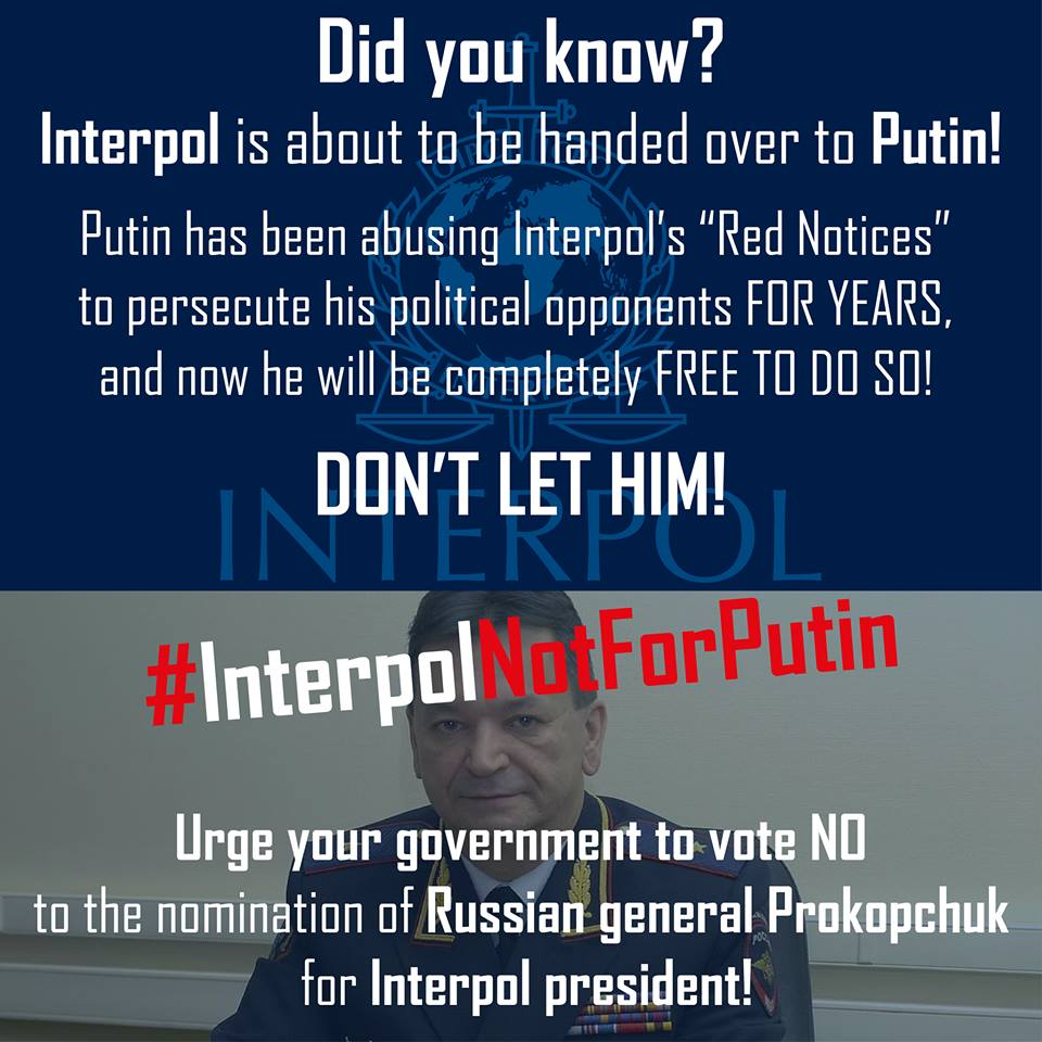 """Interpol not for Putin"""