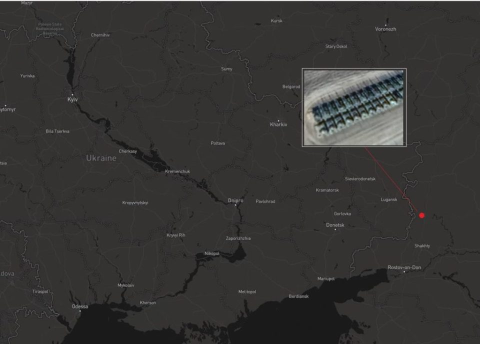 The location captured in the photograph with the Russian tanks next to the Ukrainian border (Image: defense-blog.com)