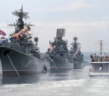 Russian warships are seen during a naval parade rehearsal in the port of Sevastopol in occupied Crimea, 2016. Source: The Moscow Times