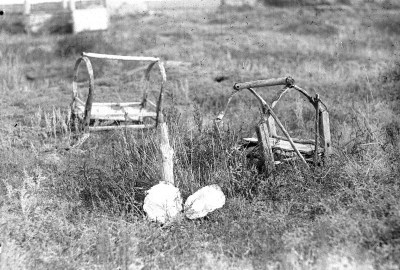 Remains of abandoned baby cradles. Kazakhstan, 1931