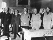 Munich Agreement. Left to right: Neville Chamberlain, Édouard Daladier, Adolf Hitler, Benito Mussolini & Count Galeazzo Ciano meeting in Munich, September, 1938.