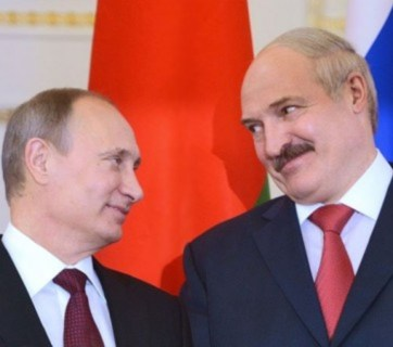 Vladimir Putin and Alyaksandr Lukashenka, the authoritarian rulers of Russia and Belarus