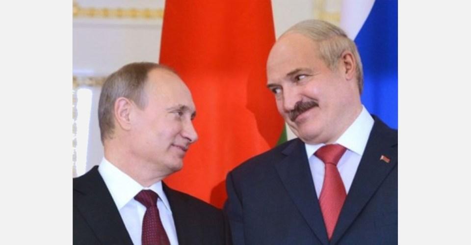 Vladimir Putin and Alyaksandr Lukashenka, the authoritarian rulers of Russia and Belarus