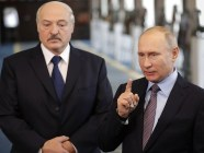 Belarusian and Russian rulers Alyaksandr Lukashenka and Vladimir Putin