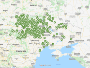 A Google map of the Moscow Patriarchate's 520 parishes that shifted their allegiance to the Orthodox Church of Ukraine as of July 30, 2019