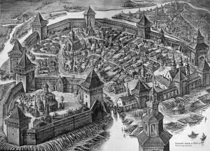 Reconstructed view of Lutsk Castle in XVIth c. Source: Tronevych P. Lutsk Castle in Ukrainian History. - Lutsk, 2007