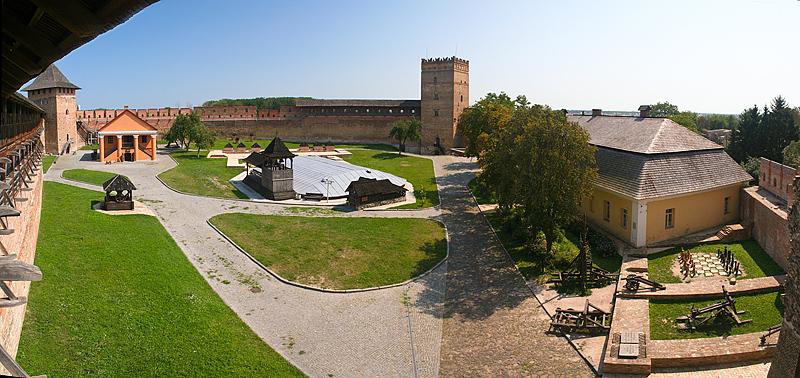 Panorama of Lutsk Castle's courtyard. Photo: Oleksandr Kotys/Wikimedia Commons