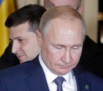 Putin and Zelenskyy at the December 2019 meeting of the Normandy format leaders in Paris, France