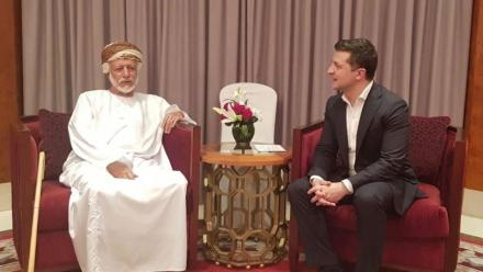 Zelenskyy at the meeting with Yusuf bin Alawi bin Abdullah responsible for the foreign affairs of Oman. Source: Presidential Office.